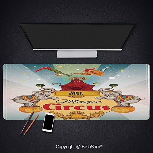 Desk Gaming Mouse Pad Non-Slip Magic Circus Tent Show Announcement Vintage Style Aerialist Acrobat Keyboard Pad for Computer(W23.6xL15.7)