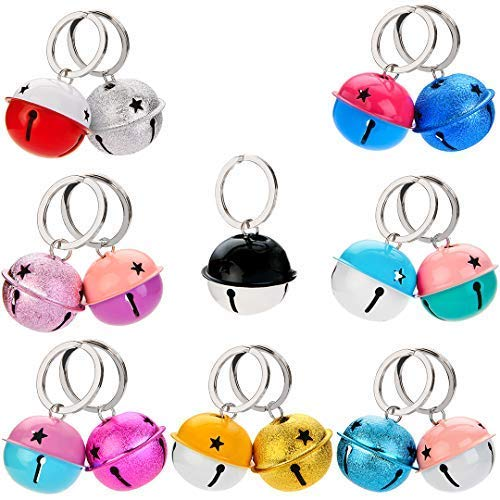 (1.57inch Dog Cat Bells, 15pcs Large Lightweight Charm Jingle Bells Pet Bell with Sturdy Metal Ring for Cat Toys, Party Decoration(Multicolor))