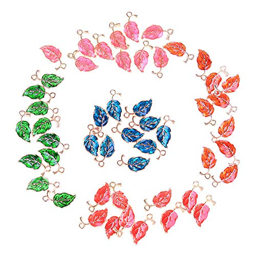 Glass Beads Leaf Pendant Necklace - Assorted 50pcs Leaves Shaped Lucky Charms Drop Oil Pendants Beads Wine Glass Charms for Jewelry Making Bracelet Necklace Keychain Accessories