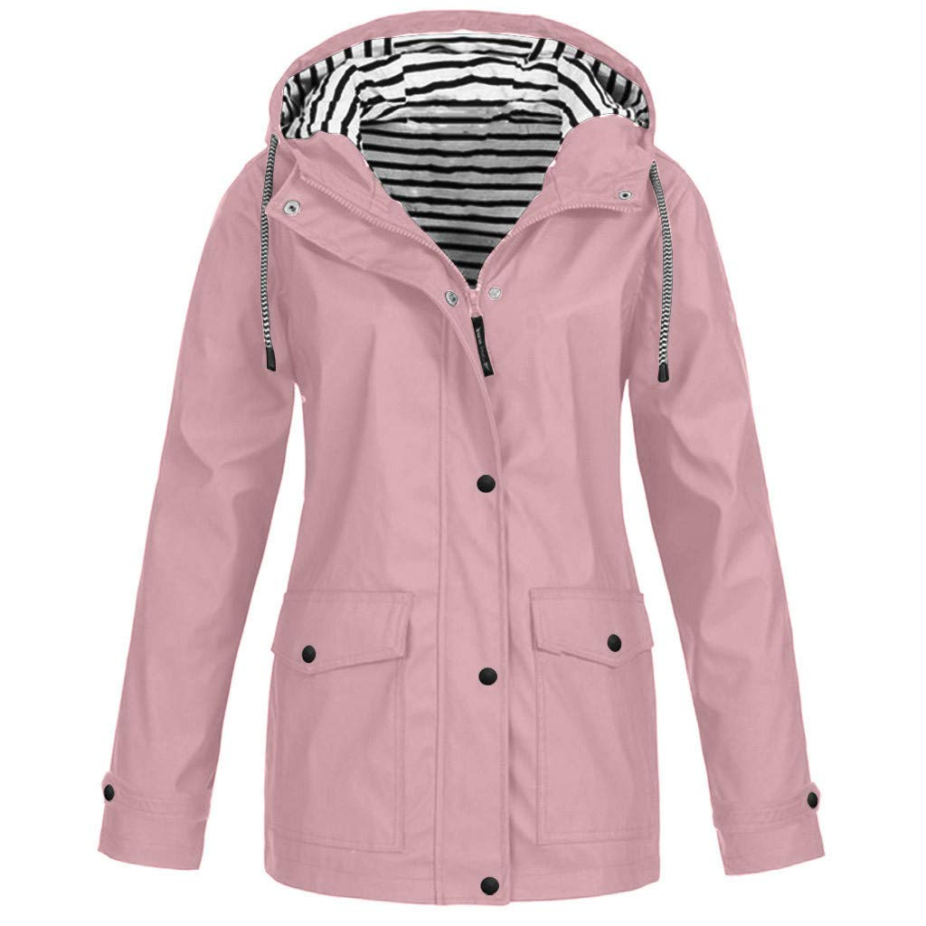 Women Raincoat with Hood Waterproof Striped Lined Active Outdoor Rain Jacket Windbreaker Hooded Trench Coats