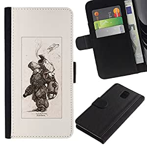 KingStore / Leather Etui en cuir / Samsung Galaxy Note 3 III / Battle Metal Pc Futuriste