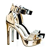 Best Speed Limit 98 High Heels For Women - Speed Limit 98 Notice Rose Gold Rhinestone Encrusted Review