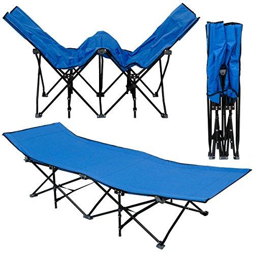 AMANKA Faltlbett Faltliege Feldbett Blau   Camping-Metall-Klappiege ca. 190x70cm   10-Bein Liege Klappbett   Stahlgestell