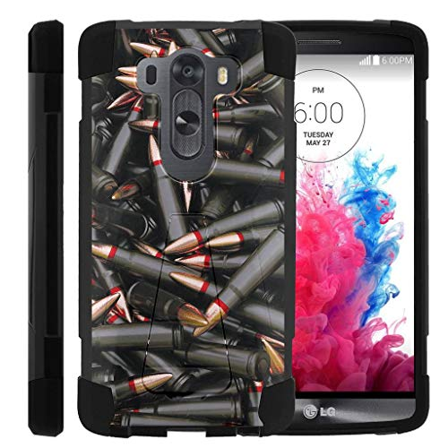 TurtleArmor | Compatible for LG V10 Case | LG G4 Pro Case [Dynamic Shell] Impact Proof Hard Kickstand Hybrid Shock Fitted Silicone Cover Military War Army Camo Design - Black Bullets