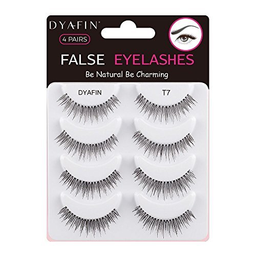 DYAFIN False Eyelashes Handmade Lightweight Natural False Lashes Multipack Fake Eyelashes (4 Pair, DF T7) ()