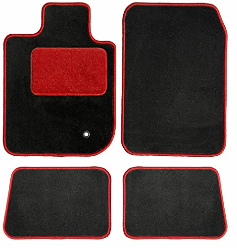 -BLK_BR Two Row Set Custom Car Mat, Black (For Select Dodge Charger Models (Carpet, Red HP, Red Serging)) (Dodge Charger Black Carpet)