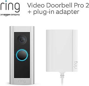 Maak kennis met de Ring Video Doorbell Pro 2 met stekkeradapter van Amazon | HD-video, zicht van top tot teen, 3D-bewegingsdetectie, met een gratis proefperiode van 30 dagen Ring Protect