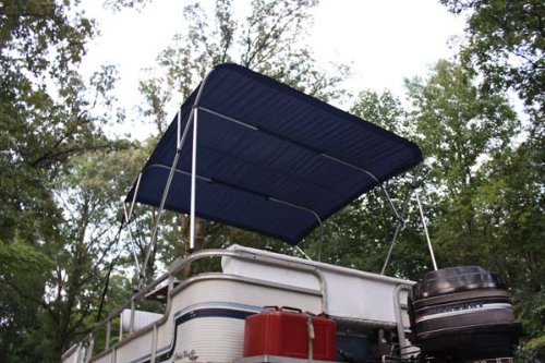 New NAVY BLUE Vortex Pontoon / Deck Boat 4 Bow Bimini Top 10' Long, 97-103'' Wide, 54'' High, Complete Kit, Frame, Canopy, and Hardware (FAST SHIPPING - 1 TO 4 BUSINESS DAY DELIVERY)