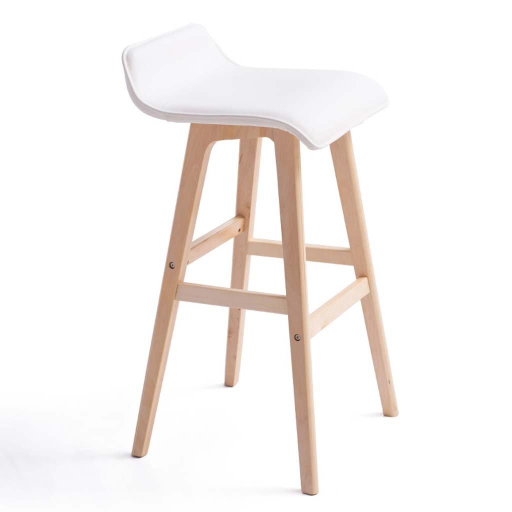 White GLJ Wood Bar Chair Bar Chair Simple Retro High Stool Bar Stool (color   Reddish Brown)