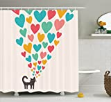 Ambesonne Cat Lover Decor Collection, Cute Cat in Love with Colorful Different Sizes of Hearts Happy Sweet Clipart, Polyester Fabric Bathroom Shower Curtain, 75 Inches Long, Teal Mustard Red