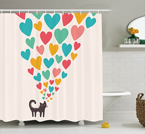 Ambesonne Cat Lover Decor Collection, Cute Cat in Love with Colorful Different Sizes of Hearts Polyester Fabric Bathroom Shower Curtain Set with Hooks