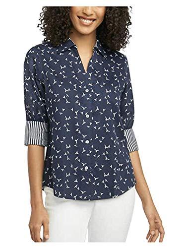 - Foxcroft NYC Women's Pinpoint Oxford Shirt Non-Iron Stretch Poplin Shirt Navy/White Birds Large