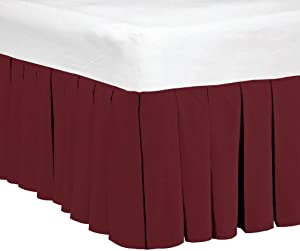 """Home Soft Things 14"""" Drop Microfiber Dust Ruffle Bed Skirt, King, Ruby Wine"""