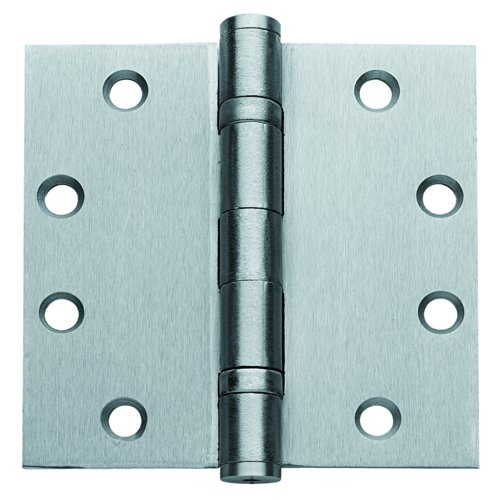 - Global Door Controls 4.5 in. x 4.5 in. Brushed Chrome Ball Bearing Non-Removable Pin Steel Hinge - Set of 3