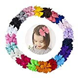 Baby Hair Accessories, 40Pcs Hair Bows for Girls Boutique Grosgrain Ribbon Pinwheel Hair Bow with Alligator Clips for Baby Toddlers in Pairs
