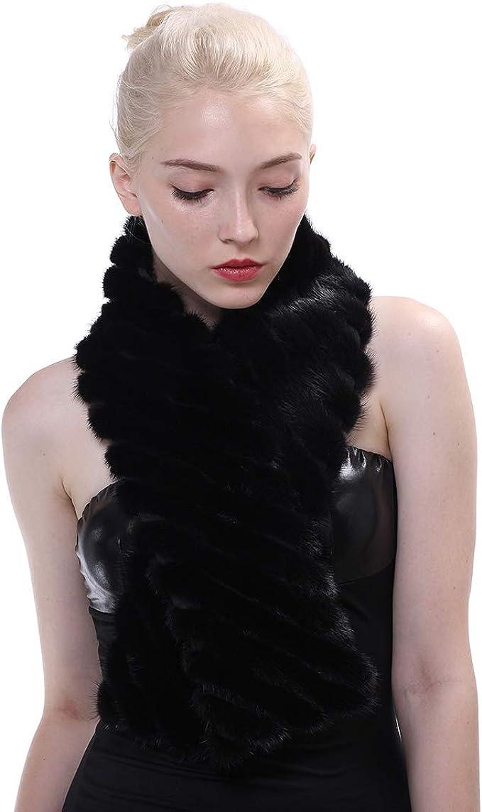 URSFUR Women Winter Mink Fur Long Scarf