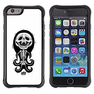 Be-Star Unique Pattern Anti-Skid Hybrid Impact Shockproof Case Cover For Apple iPhone 6 Plus(5.5 inches)( Octopus White Black Funny Skull Skeleton ) Kimberly Kurzendoerfer