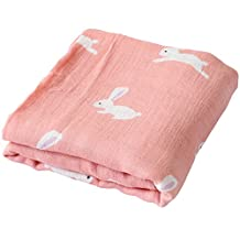"""Muslin Swaddle Blankets - 70% Bamboo / 30% Cotton Large Size 47""""x 47"""" - """"Bunny Print"""" Covering Cloth By LifeTree"""