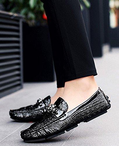 Fashion Nero Scarpe Comfort MYXUA Mocassini Estivi Pigro Da Casual Da Scarpe Black Barca Uomo Bianco wgvPwq7