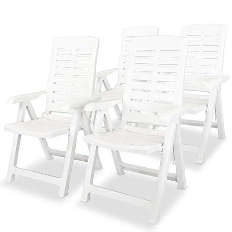 guyifuzhuangs Sillas de jardín reclinables 4 Unidades plástico ...