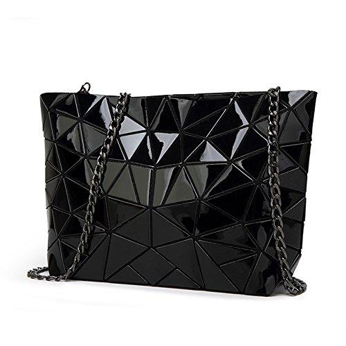 HAOXIAOZI Moda Lingge Geométrica Bolso De La Perla Bolsa De Hombro Femenina Bolsa Plegables Costura Messenger Bag Negro