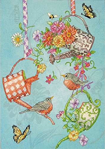 Blooming Watering Cans Stamped Cross Stitch Kit-10