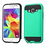 Asmyna Cell Phone Case for Samsung Galaxy G360/Core Prime - Retail Packaging - Black/Green/Teal