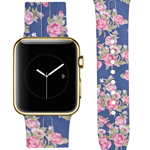 Watch Tech Wrist Band - Allbingo Cute Bands Compatible with Apple Watch,Women Men Floral Replacement Strap Wristband for Apple Watch 38mm/40mm/42mm/44mm Iwatch Series 4 Series 3 Series 2 Series 1