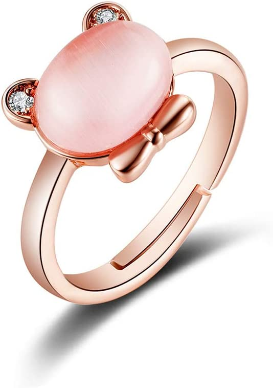 Lumanuby Anillo De Oso Creativo Con Incrustaciones De Cristal Rosa Natural Anillo De Piedra De Hibisco Con Dulce Fresca Lady Ring