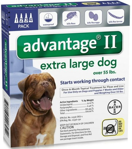 Bayer Advantage Ii Topical Flea Treatment For Dogs Over 55 Lbs  4 Applications
