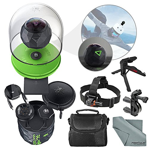 360Fly 4K Action Camera and Accessory Bundle with Camera Mounts + XPIX Tripod + Case + Fibertique Cleaning Cloth by Photo Savings