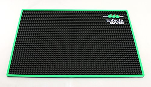 Trifecta Barware 18 X 12 Inch Bar Mat | Service and Spill Mat | Black with Green Edge and Logo by Trifecta Barware