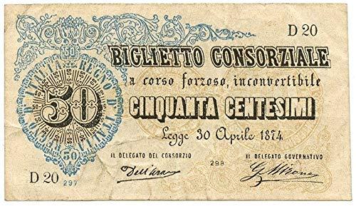 Cartamoneta  50 CENTESIMI Biglietto CONSORZIALE Regno d'Italia 30 04 1874 BB SPL