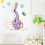 BIBITIME Nursery Growth Chart Elephant Bee Sun Height Measurement Wall Decal Home Sticker for Living Dinning Room Bedroom