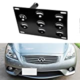iJDMTOY JDM Style Front Bumper Tow Hole Adapter License Plate Mounting Bracket For Nissan 370Z Juke, Infiniti G37/Q60 Coupe, etc
