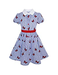 Sunny Fashion Girls Dress School Blue Strip Butterfly Print Gingham Size 4-10