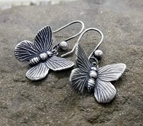 Handmade Oxidized Silver Butterfly Earrings