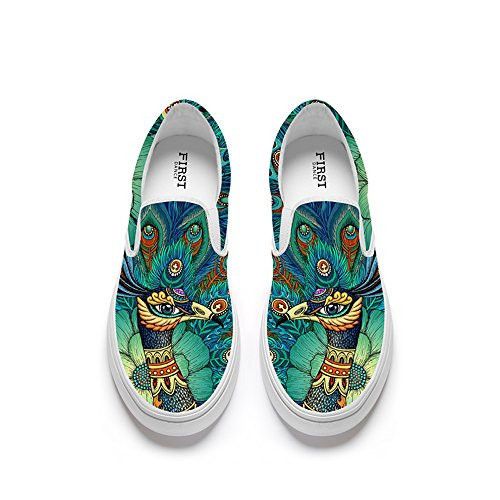 FIRST DANCE Funny Animal Prints Design Womens Casual Loafers Flats Personalized Fashion Canvas Shoes Style5 9US by FIRST DANCE