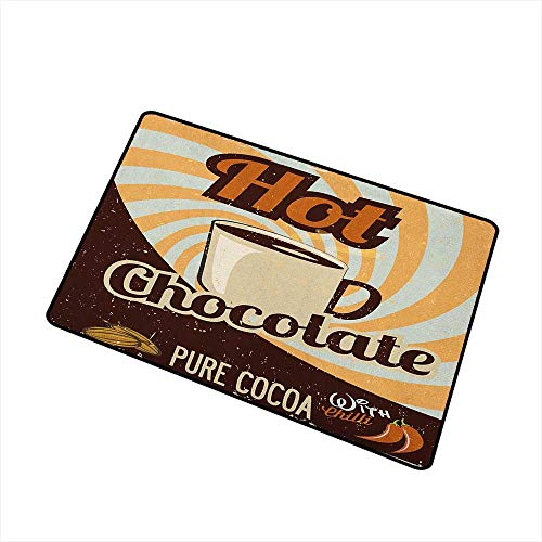 Wang Hai Chuan Retro Universal Door mat Old Hot Chocolate Commercial in Funky Shaded Color with Cocoa Beans and Mug Print Door mat Floor Decoration W15.7 x L23.6 Inch Multicolor ()
