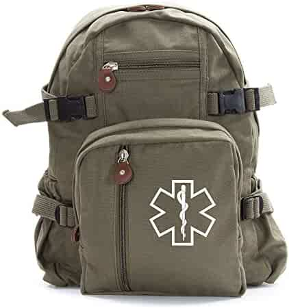 8d3c8066cccc Star of Life Medical Logo Army Sport Heavyweight Canvas Backpack Bag in  Olive   White