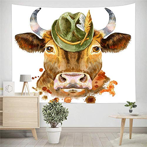 NYMB Farm House Animal Wall Tapestry Art Home Decor, Watercolor Funny Hipster Cow with Hat Tapestry Wall Hanging for Bedroom Living Room Dorm Bedspread, Beach Blanket, (Multi4, 60