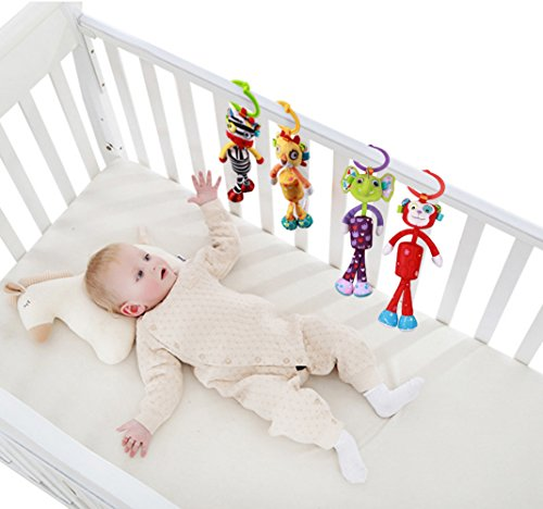 BabyPrice Baby Rattles Crib Plush Animals Toys Dolls Pram Stroller Attachment Toys Bedding Hanger for Infant Toddler Monkey (Monkey Sunglasses Jacket)