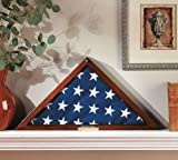 "Flag Display Case Veterans with Personalized Brass Plaque - Fits a Flag Folded to 15"" X 15"" X 21"""