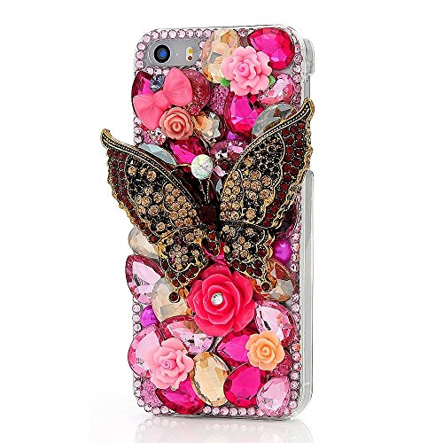 Flower Paradise Diamond (KAKA(TM) Phone Case for iPod, iPod Touch 6 3D Rhinestone Crystal Clear Back Cover with Bling Butterfly Diamond Flowers)