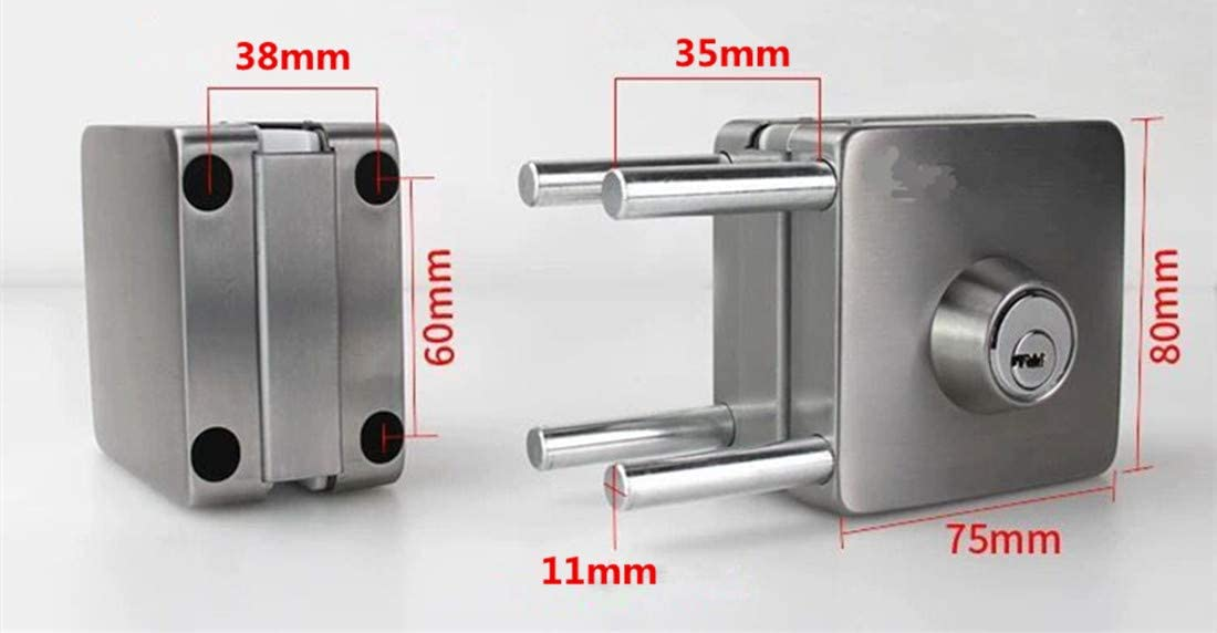 12 mm Glass Door Anti-Theft Security Lock, Double Swing Hinged Frameless Push Sliding Gate Lock with 3 Keys Ranbo 304 Stainless Steel Commercial Durable Metal Chrome 10 mm