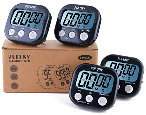 PUFUNY Digital Kitchen Timer,Cooking Timer,Large Display,Strong Magnet Back,Loud Alarm,Stand,for Cooking Baking Sports Games Office,User Guide Included,4 Pack Black ()