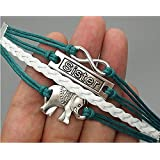 Sumanee Jewelry Antique Leather Bangles Bracelet Elephant Sister Infinity Men Women