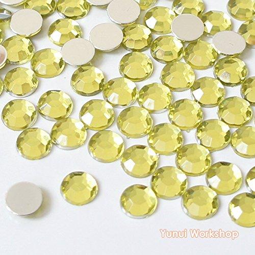 Light Yellow Rhinestones - 800pcs (Light Yellow) 2mm-12mm OR Mixed Size Facet Round Acrylic Flatback Rhinestones Cabochons Scrapbooking Nail Craft (3mm, 800pcs)