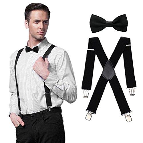 HABIBEE Solid Color Mens Suspender Bow Tie Set Clip On Y Shape Adjustable Braces (Black 5120cm)