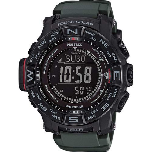 (Casio Men's 'PRO TREK' Tough Solar Powered and Stainless Steel Watch, Color:Green (Model: PRW-3510Y-8CR))